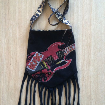 AC/DC - Upcycled Rock T-Shirt Fringe Purse - ooaK