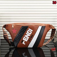 FENDI Hot Sale Fashion Woman Men Leather Waist Bag Single Shoulder Bag Crossbody Satchel Brown