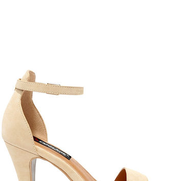 Well-Directed Nude Ankle Strap Heels