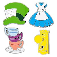 Disney Alice in Wonderland Pin Trading Flair Set Dress Mad Hatter Hat Teacups