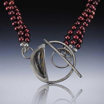 Red Rover Red Pearl and Pietersite Gemstone Pendant