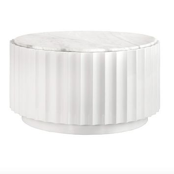 Worlds Away Clove Round White Marble Coffee Table
