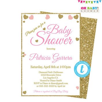 Pink and Gold Baby Shower Invitation, Invitation Template, Baby Shower Girl, Baby Shower Invites, Pink and Gold Hearts Invitation, PGH