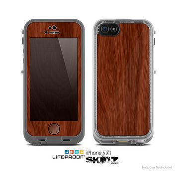 The Red Mahogany Wood Skin for the Apple iPhone 5c LifeProof Case