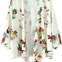 White Floral And Bird Printed Kimono