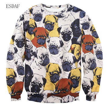 ESDAF Autumn Women Hoodies Pullover Harajuku Cute Winter Fasihon Sweatshirt Punk Pug Sweatshirts Dog Full Print Couple Hoodies