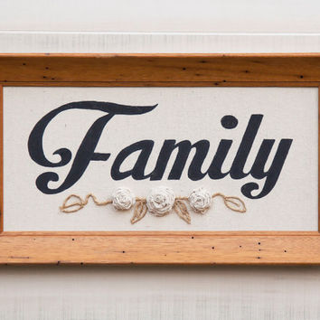 Canvas FAMILY wall art in vintage 50's wormy wood frame, hand painted word, ribbon roses, twine accents. Country Cottage Chic Rustic Decor