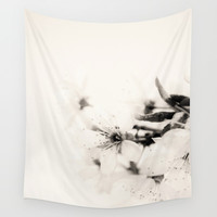 Monochrome Blossoms Close-up Wall Tapestry by ARTbyJWP