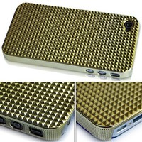 BONAMART ® Triangle Chrome Hard Back Case Cover For Apple iPhone 4 4G AT&T Gold qh