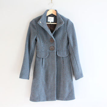 Petite Blue Tweed Long Coat Big Button Wool Blend Long Coat Size XS #O136A