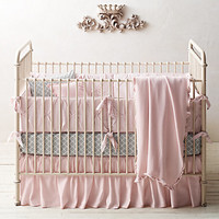 Pintucked Bow & European Trellis Nursery Bedding Collection | Restoration Hardware Baby & Child