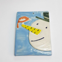 Snowman and Bird Handmade Ceramic / Snowman Ceramic Plate/ Ceramic Wall Plate For Kids/