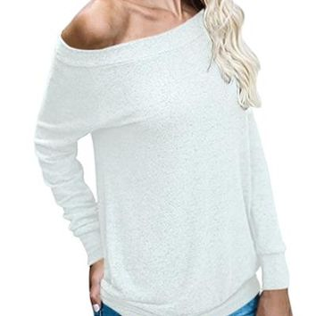 Chicloth White Women?¡¥s Off Shoulder Tunic Top
