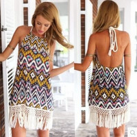 Print Sexy Backless Tassels One Piece Dress [4920349572]