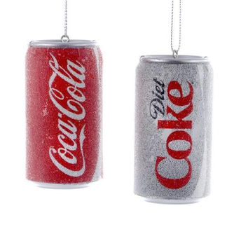 Coca-Cola Glittered Can Christmas Ornaments, Red/White, 3-Inch, 2-Piece