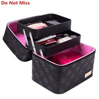 Do Not Miss Women Cosmetic Box Designer High Quality Portable Cosmetic Bag Large Capacity PU Cosmetic Bag Women Makeup Dedicated