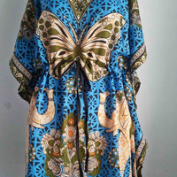 Thai Hippie hobo poncho Kaftan Tunic Dress African Butterfly Vintage Blue Beach Sundress  Free Size