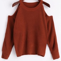 Crew Neck Cold Shoulder Pullover Sweater