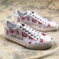 Philipp Plein Graffiti White Red Low Sneakers - Best Online Sale