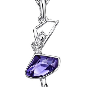 Neoglory Fashion Jewelry Violet Crystal Ballet Dance Girl Pendant Necklace Ba...
