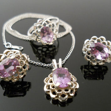 Sterling Silver 925 Genuine Amethyst Jewelry Set 18 Inch Necklace Earrings Size 6 Ring uTc 925