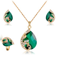 Jewelry Sets For Women Wedding Bridal Dress Accessories Water Drop Crystal Necklace Earrings Ring Set 18K Gold Plated Party 2016