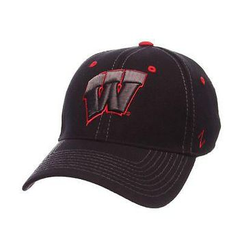 Licensed Wisconsin Badgers Official NCAA Black Element Large Hat Cap by Zephyr 098974 KO_19_1