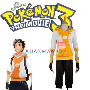 Men Fashion  Go Orange Cosplay Costume Trainer Uniform Shorts Hat Gloves Full Set Custom Made W1099Kawaii Pokemon go  AT_89_9