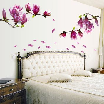 Magnolia Flower Home Household Room Wall Sticker Mural Decor Decal Removable