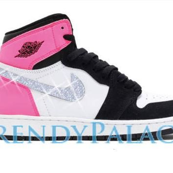 Custom Air Jordan Shoes-Swarvorski Jordan 1 OG-Girl Sizes-Blinged Out Shoes-Custom Sne