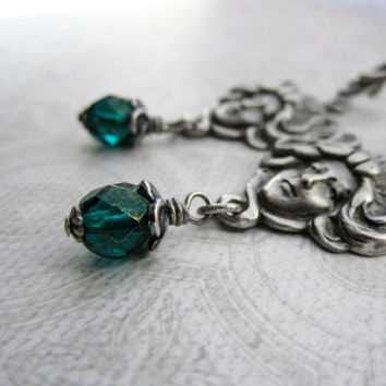 Art Nouveau Earrings - Jugend Lady Head - Emerald Teal Green - Fantasy Medusa