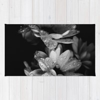 Flower and drops. Black and white. Rug by VanessaGF