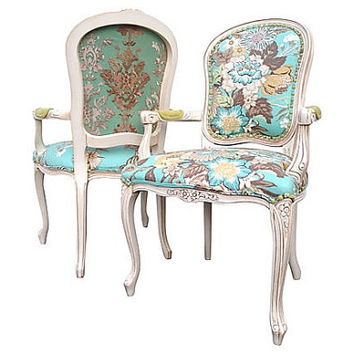 French Louis Arm Chairs Dining Accent Upholstered Modern Rustic Chic Designer Floral Aqua Fabric