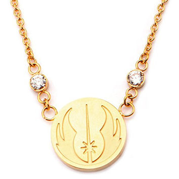 Star Wars Stainless Steel Gold Plated Jedi Symbol Small Pendant Necklace
