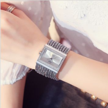 Ladies fashion fashion table square - bracelet with diamond watches Golden