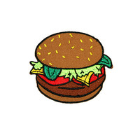 Burger Iron On Patch Embroidery Sewing DIY Customise Denim Cotton Fast Food McDonalds