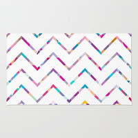 White Zigzag Area & Throw Rug by Ornaart