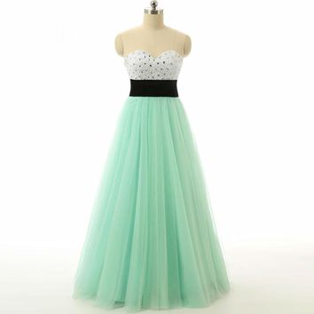 Arrival A line Sweetheart Floor Length Tulle Mint Formal Gown Evening Dresses Long Sleeveless