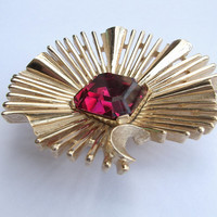 Antique jewelry, vintage 1950's Crown Trifari ruby red glass brooch pin, gold enamel, red wedding brooch, bridesmaid jewelry