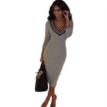 New Spring Summer Women Pencil Sheath Dress Sexy Bandage Party Dress 2016 Fashion Long Sleeve Bodycon Dresses Grey Black