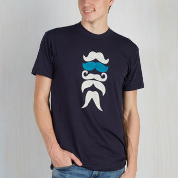 Quirky Long Short Sleeves 'Stache Bash Men's Tee