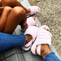 """UGG"" Hight Quality Hot Sale Women Fluff Yeah Slippers Sandals Shoes Light Pink"