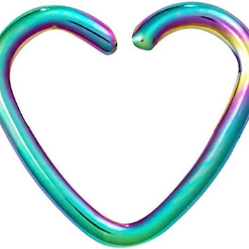 Fake Cartilage Earring: Titanium IP Plated Surgical Steel Rainbow Heart Clip-On Cartilage Hoop