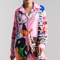 AKIRA Oversized Looney Tunes Button Down Print Shirt Dress in Black