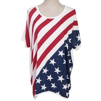 American Flag Shirt USA Patriotic Women's T-shirt