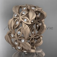 14kt rose gold diamond butterfly, leaf and vine wedding ring, engagement ring ADLR262