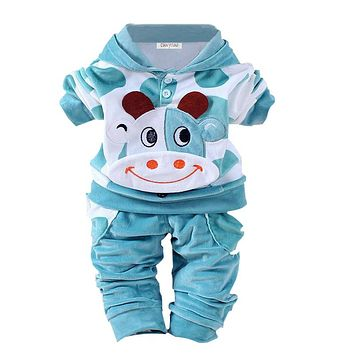 Newborn Baby Girls Clothes Set 2017 Autumn Winter Baby Boys Clothes Hoodie+Pants 2pcs Outfits Baby Suit For Infant Clothing