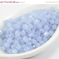 20% off SALE Milky Purple Fire Polished Czech Glass Bead 4mm (50) Round Polish Faceted Pastel Pale Lavender Nr2
