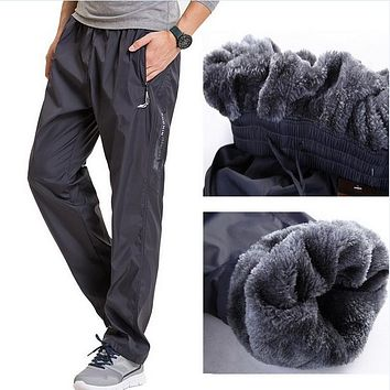 Super Winter Warm Fleece Thicken Men's casual Pants Heavy weight Mens Thermal Trousers Waterproof Slim Jogger Fit Sweatpants 3XL