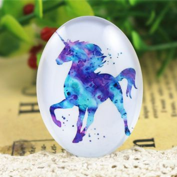 2pcs 30x40mm New Fashion Purple Dream Horse Handmade Photo Glass Cabochons Pattern Domed Jewelry Accessories Supplies-I3-04